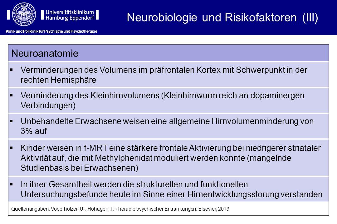 Klinik und Poliklinik für Psychiatrie und Psychotherapie Neuroanatomie Verminderungen des Volumens im präfrontalen Kortex mit Schwerpunkt in der rechten Hemisphäre Verminderung des Kleinhirnvolumens (Kleinhirnwurm reich an dopaminergen Verbindungen) Unbehandelte Erwachsene weisen eine allgemeine Hirnvolumenminderung von 3% auf Kinder weisen in f-MRT eine stärkere frontale Aktivierung bei niedrigerer striataler Aktivität auf, die mit Methylphenidat moduliert werden konnte (mangelnde Studienbasis bei Erwachsenen) In ihrer Gesamtheit werden die strukturellen und funktionellen Untersuchungsbefunde heute im Sinne einer Hirnentwicklungsstörung verstanden Quellenangaben: Voderholzer, U., Hohagen, F.