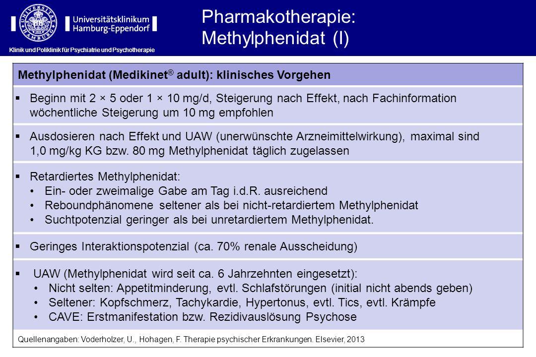 Klinik und Poliklinik für Psychiatrie und Psychotherapie Methylphenidat (Medikinet ® adult): klinisches Vorgehen Beginn mit 2 × 5 oder 1 × 10 mg/d, St
