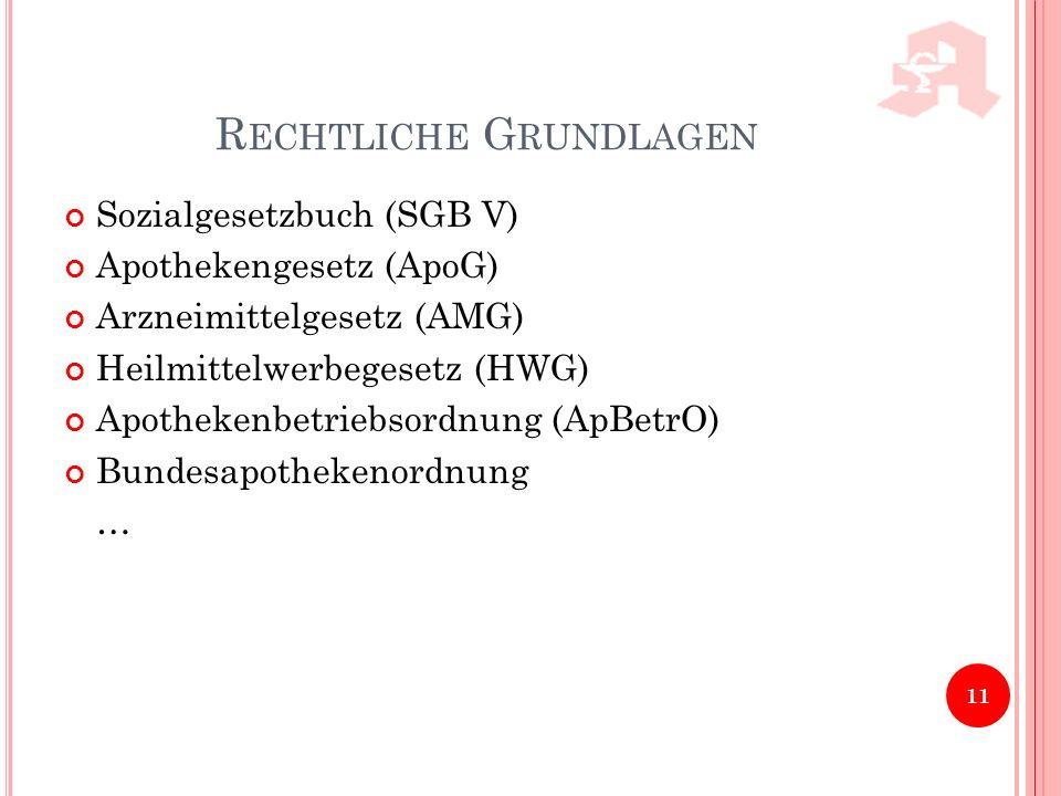 R ECHTLICHE G RUNDLAGEN Sozialgesetzbuch (SGB V) Apothekengesetz (ApoG) Arzneimittelgesetz (AMG) Heilmittelwerbegesetz (HWG) Apothekenbetriebsordnung