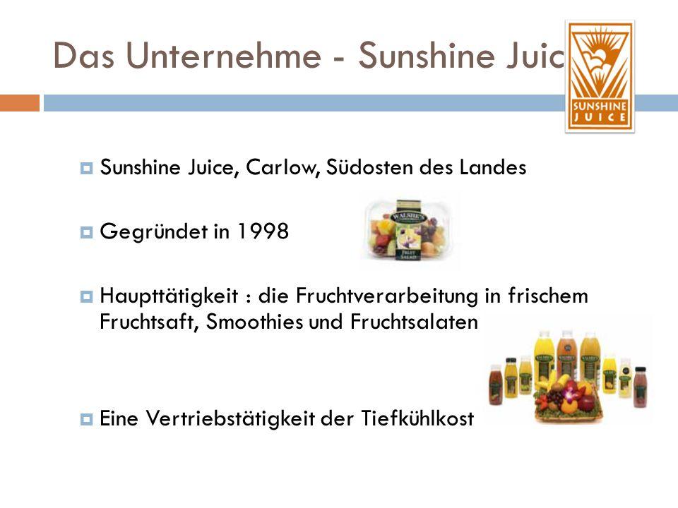 Das Unternehme - Sunshine Juice Sunshine Juice, Carlow, Südosten des Landes Gegründet in 1998 Haupttätigkeit : die Fruchtverarbeitung in frischem Fruchtsaft, Smoothies und Fruchtsalaten Eine Vertriebstätigkeit der Tiefkühlkost
