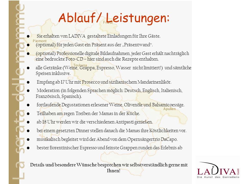 Ablauf/ Leistungen: Sie erhalten von LADIVA gestaltete Einladungen für Ihre Gäste.