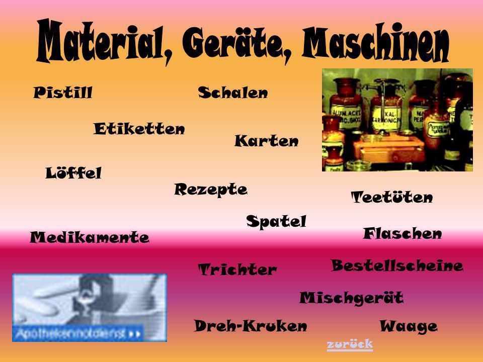 PistillSchalen Etiketten Teetüten Mischgerät WaageDreh-Kruken Flaschen Medikamente Rezepte Bestellscheine Löffel Trichter Spatel Karten zurück