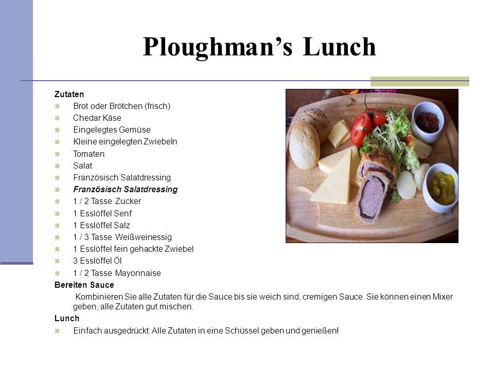 Ploughmans Lunch Zutaten Brot oder Brötchen (frisch) Chedar Käse Eingelegtes Gemüse Kleine eingelegten Zwiebeln Tomaten Salat Französisch Salatdressin