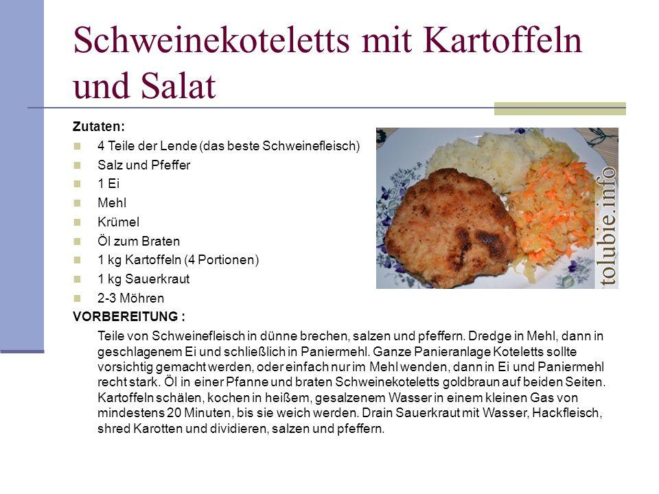 Schweinekoteletts mit Kartoffeln und Salat Zutaten: 4 Teile der Lende (das beste Schweinefleisch) Salz und Pfeffer 1 Ei Mehl Krümel Öl zum Braten 1 kg