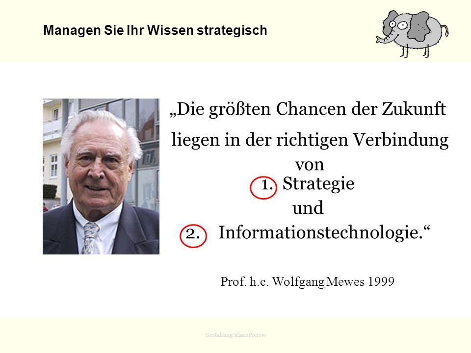 Gestaltung: Klaus Pierow Die größten Chancen der Zukunft liegen in der richtigen Verbindung von 1. Strategie und 2. Informationstechnologie. Prof. h.c
