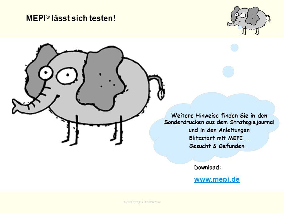 Gestaltung: Klaus Pierow MEPI ® lässt sich testen! Download: www.mepi.de Weitere Hinweise finden Sie in den Sonderdrucken aus dem Strategiejournal und