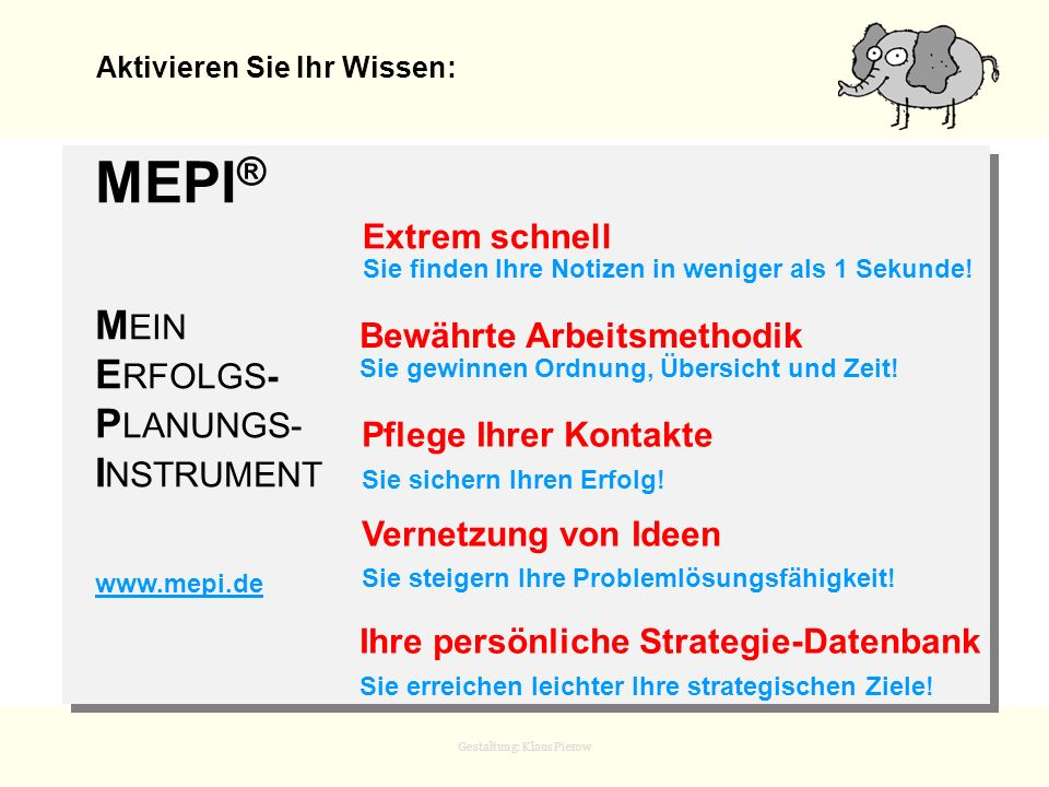 Gestaltung: Klaus Pierow Aktivieren Sie Ihr Wissen: MEPI ® M EIN E RFOLGS- P LANUNGS- I NSTRUMENT www.mepi.de Extrem schnell Sie finden Ihre Notizen i