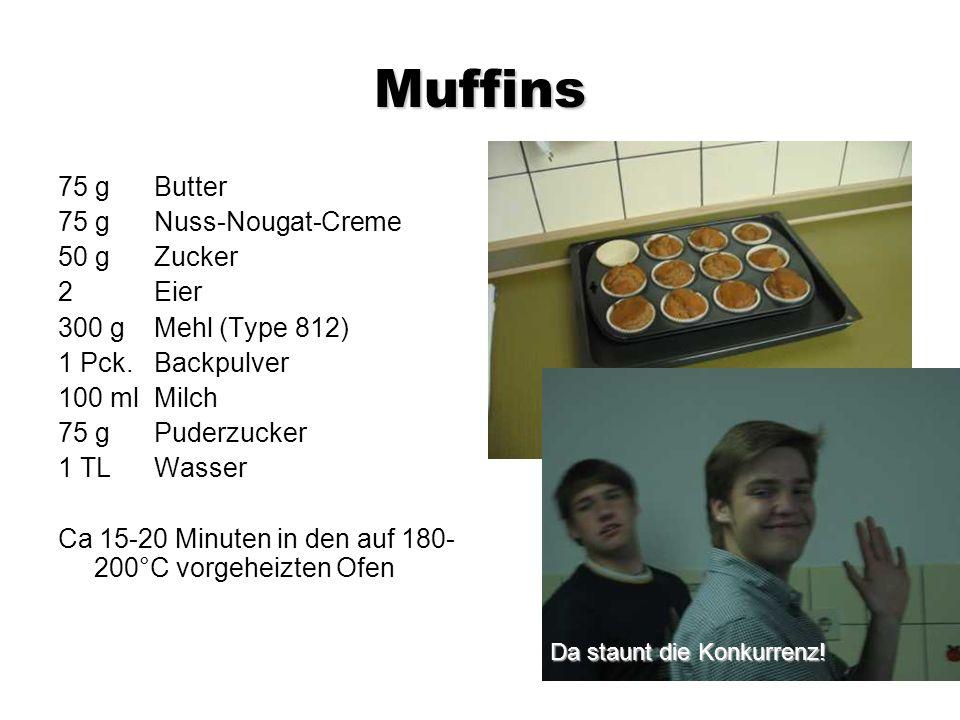 Muffins 75 g Butter 75 g Nuss-Nougat-Creme 50 g Zucker 2 Eier 300 g Mehl (Type 812) 1 Pck.