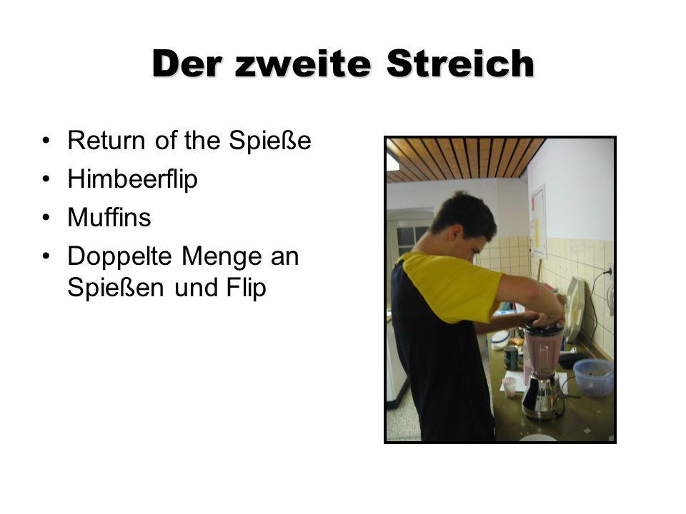 Der zweite Streich Return of the Spieße Himbeerflip Muffins Doppelte Menge an Spießen und Flip