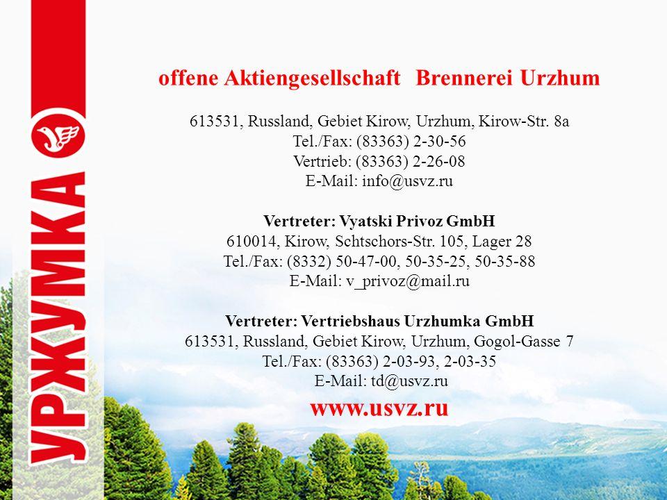 offene Aktiengesellschaft Brennerei Urzhum 613531, Russland, Gebiet Kirow, Urzhum, Kirow-Str.
