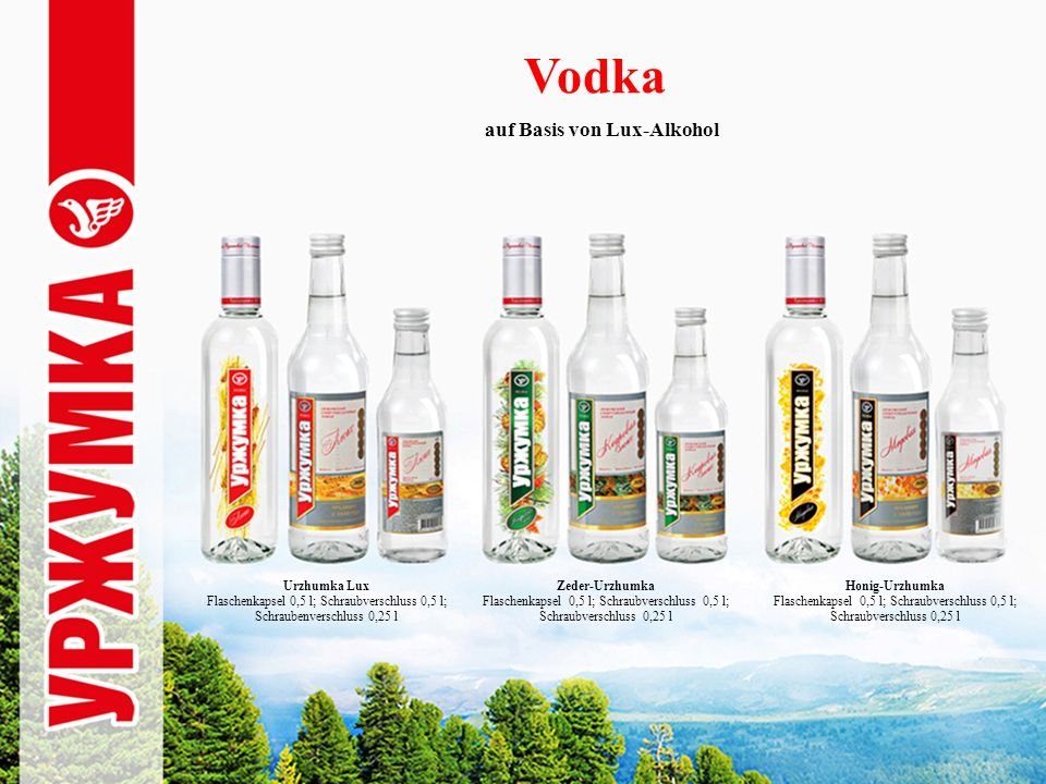 Vodka auf Basis von Lux-Alkohol Urzhumka Lux Flaschenkapsel 0,5 l; Schraubverschluss 0,5 l; Schraubenverschluss 0,25 l Zeder-Urzhumka Flaschenkapsel 0,5 l; Schraubverschluss 0,5 l; Schraubverschluss 0,25 l Honig-Urzhumka Flaschenkapsel 0,5 l; Schraubverschluss 0,5 l; Schraubverschluss 0,25 l