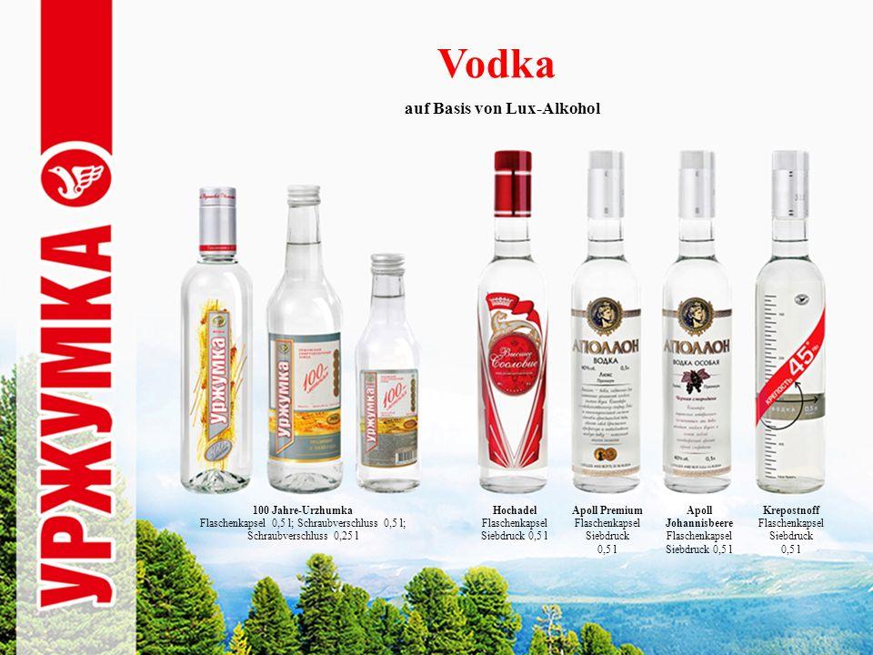 Vodka Birkenhain Siebdruck, Flaschenkapsel 0,5 l Elite-Birkenhain Flaschenkapsel 0,5 l; Schraubverschluss 0,5l; Schraubverschluss 0,25 l Männersache Flaschenkapsel 0,5 l; Schraubverschluss 0,25 l auf Basis von Lux-Alkohol