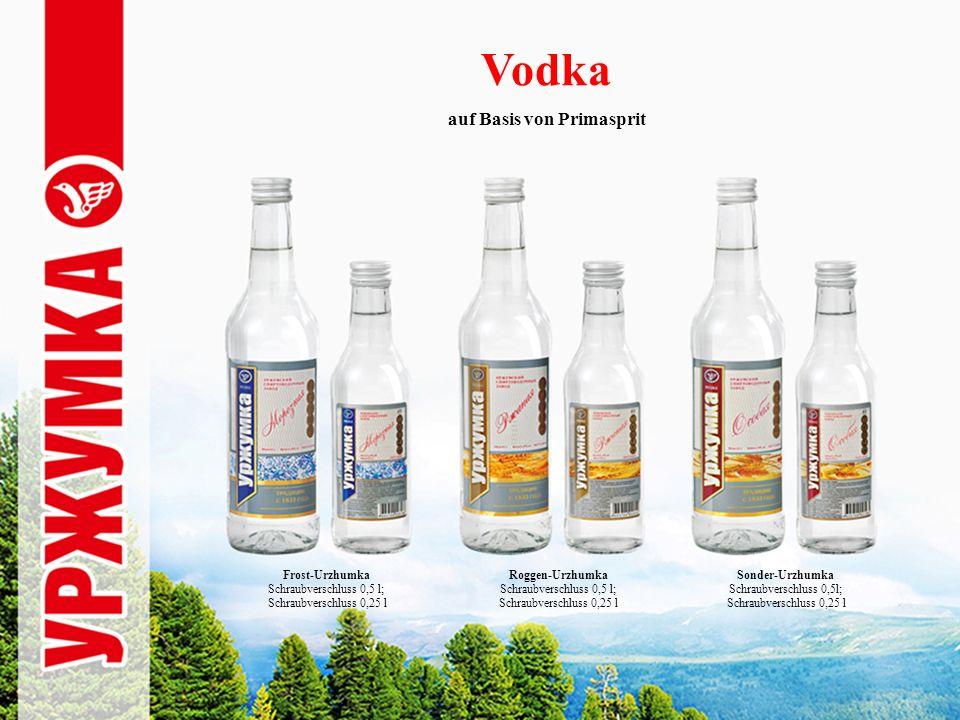 Vodka Frost-Urzhumka Schraubverschluss 0,5 l; Schraubverschluss 0,25 l Roggen-Urzhumka Schraubverschluss 0,5 l; Schraubverschluss 0,25 l Sonder-Urzhumka Schraubverschluss 0,5l; Schraubverschluss 0,25 l auf Basis von Primasprit