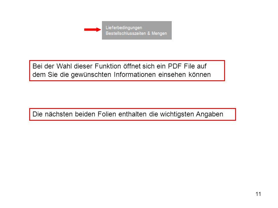 11 Bei der Wahl dieser Funktion öffnet sich ein PDF File auf dem Sie die gewünschten Informationen einsehen können Die nächsten beiden Folien enthalte
