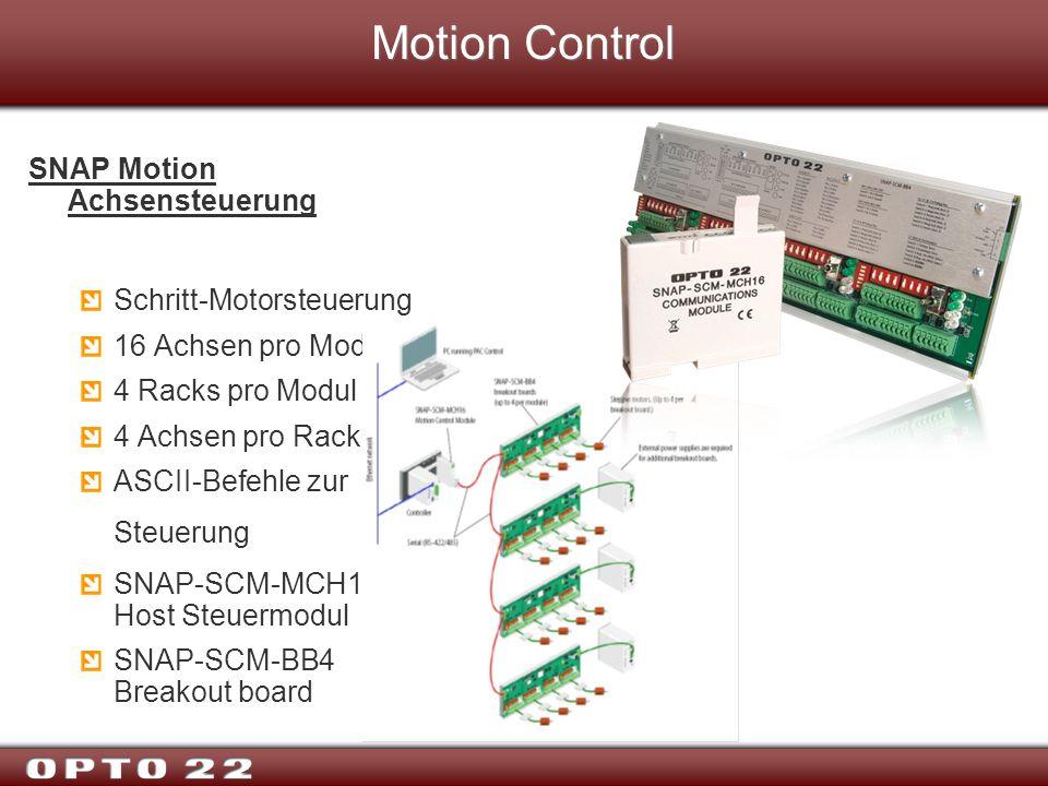 Motion Control SNAP Motion Achsensteuerung Schritt-Motorsteuerung 16 Achsen pro Modul 4 Racks pro Modul 4 Achsen pro Rack ASCII-Befehle zur Steuerung