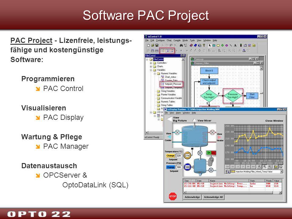 Software PAC Project PAC Project - Lizenfreie, leistungs- fähige und kostengünstige Software: Programmieren PAC Control Visualisieren PAC Display Wart