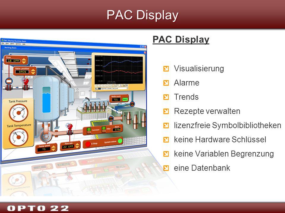 PAC Display Visualisierung Alarme Trends Rezepte verwalten lizenzfreie Symbolbibliotheken keine Hardware Schlüssel keine Variablen Begrenzung eine Dat