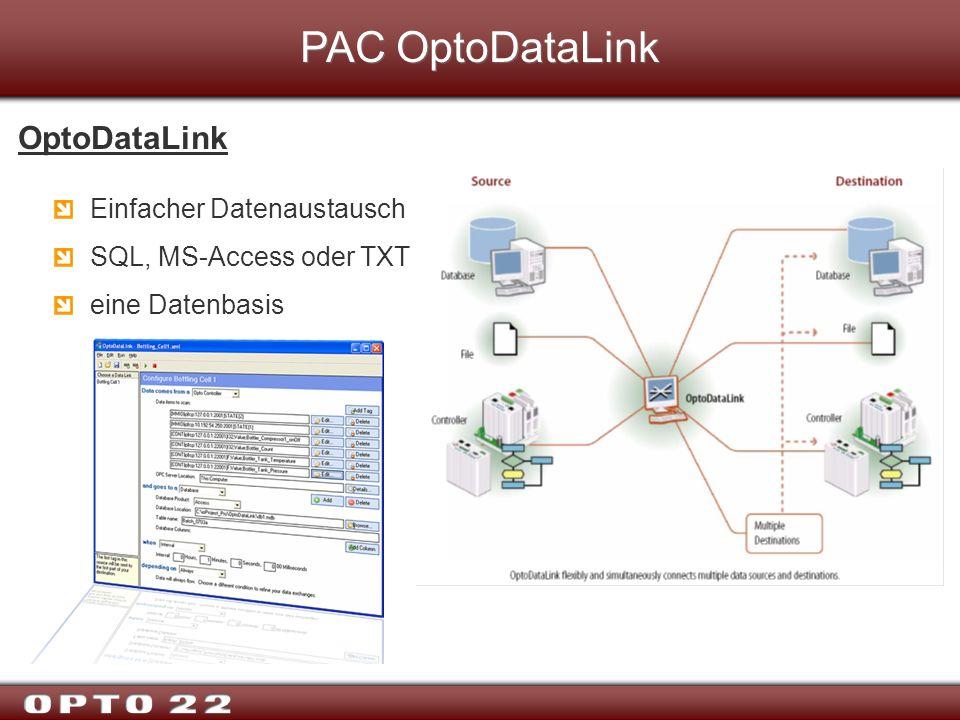 PAC OptoDataLink OptoDataLink Einfacher Datenaustausch SQL, MS-Access oder TXT eine Datenbasis