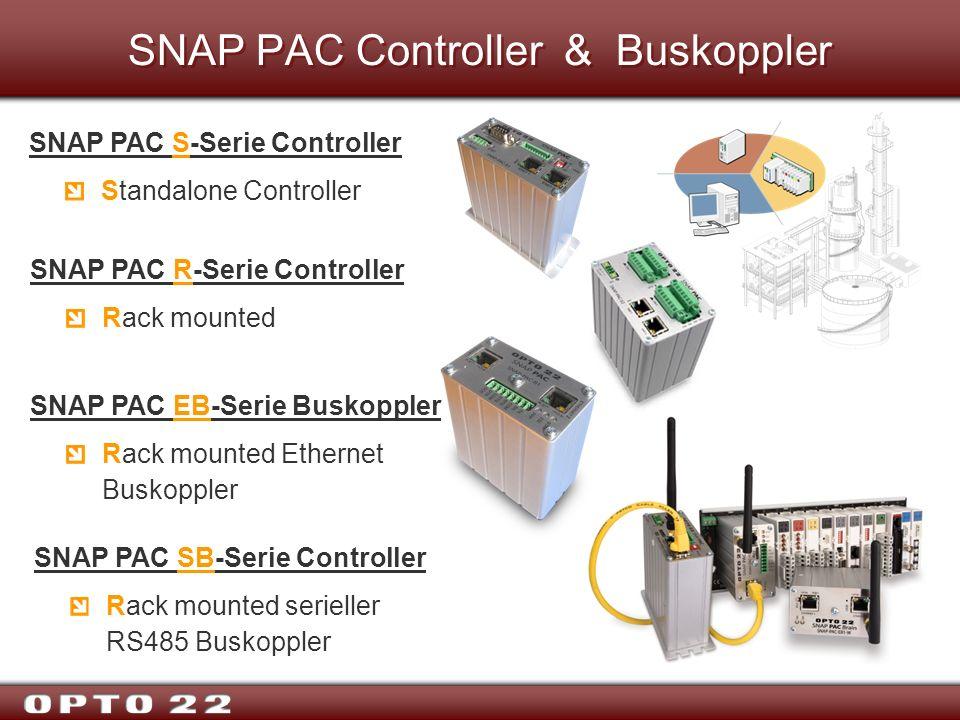 SNAP PAC Controller & Buskoppler SNAP PAC S-Serie Controller Standalone Controller SNAP PAC R-Serie Controller Rack mounted SNAP PAC EB-Serie Buskoppl