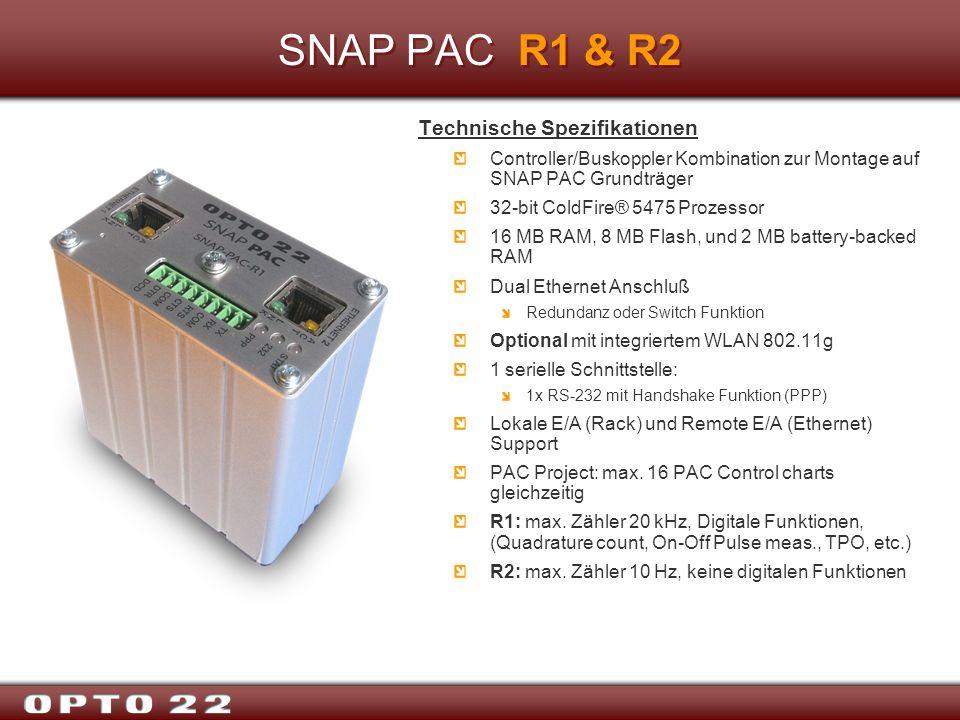 SNAP PAC R1 & R2 Technische Spezifikationen Controller/Buskoppler Kombination zur Montage auf SNAP PAC Grundträger 32-bit ColdFire® 5475 Prozessor 16