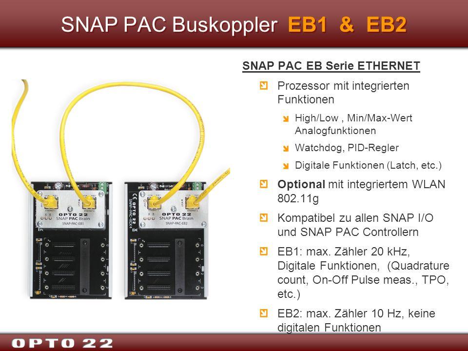 SNAP PAC Buskoppler EB1 & EB2 SNAP PAC EB Serie ETHERNET Prozessor mit integrierten Funktionen High/Low, Min/Max-Wert Analogfunktionen Watchdog, PID-R