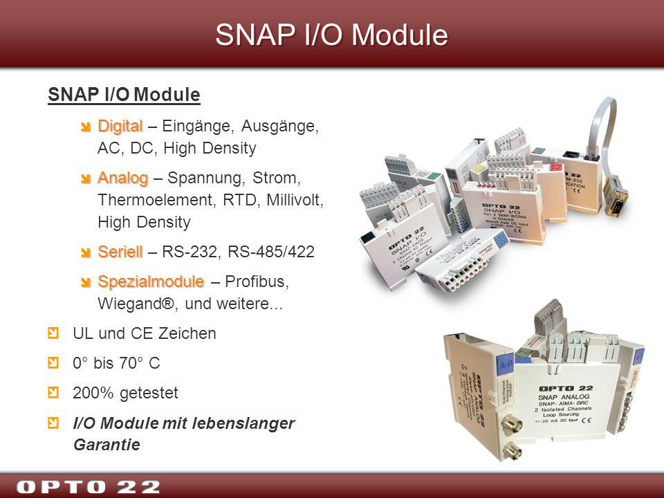 SNAP I/O Module Digital Digital – Eingänge, Ausgänge, AC, DC, High Density Analog Analog – Spannung, Strom, Thermoelement, RTD, Millivolt, High Densit