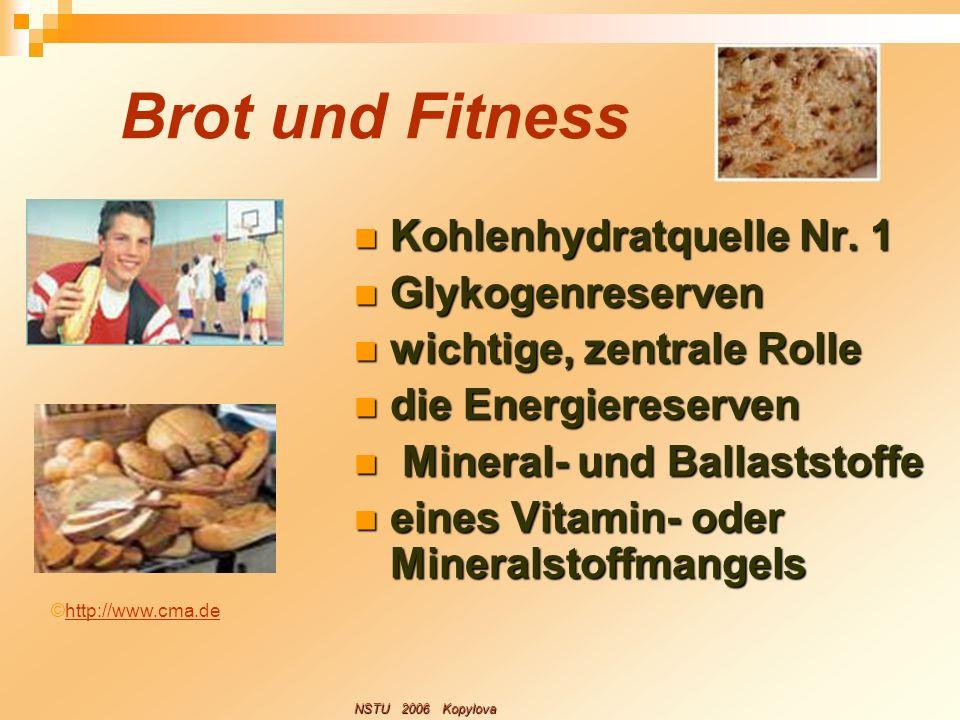 Brot und Fitness Kohlenhydratquelle Nr. 1 Kohlenhydratquelle Nr. 1 Glykogenreserven Glykogenreserven wichtige, zentrale Rolle wichtige, zentrale Rolle