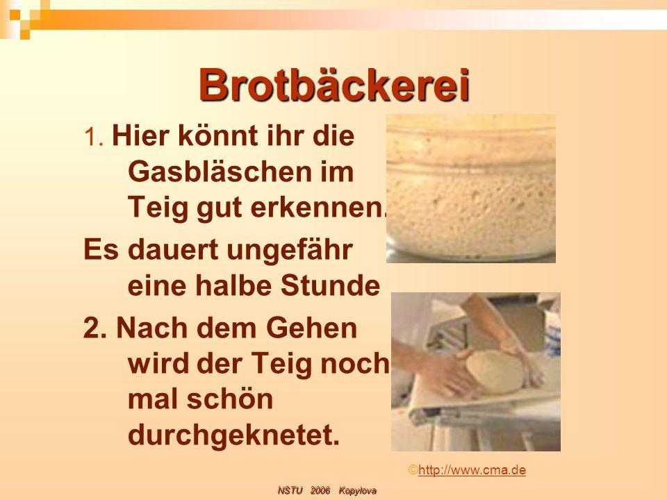 Brotbäckerei 1. Hier könnt ihr die Gasbläschen im Teig gut erkennen. Es dauert ungefähr eine halbe Stunde 2. Nach dem Gehen wird der Teig noch mal sch