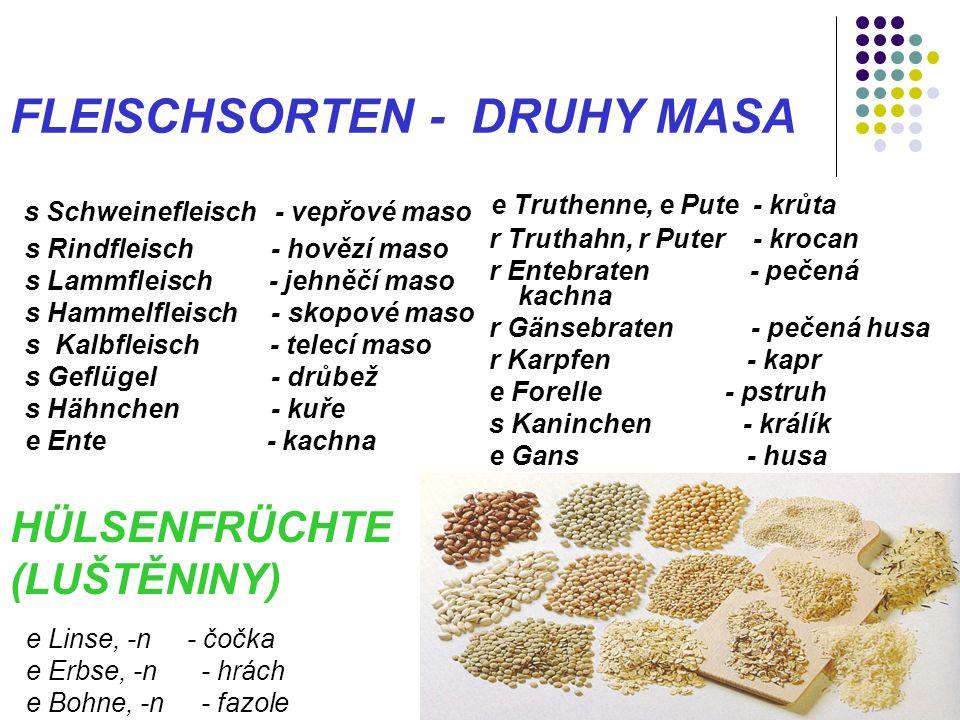 FLEISCHSORTEN - DRUHY MASA s Schweinefleisch - vepřové maso s Rindfleisch - hovězí maso s Lammfleisch - jehněčí maso s Hammelfleisch - skopové maso s