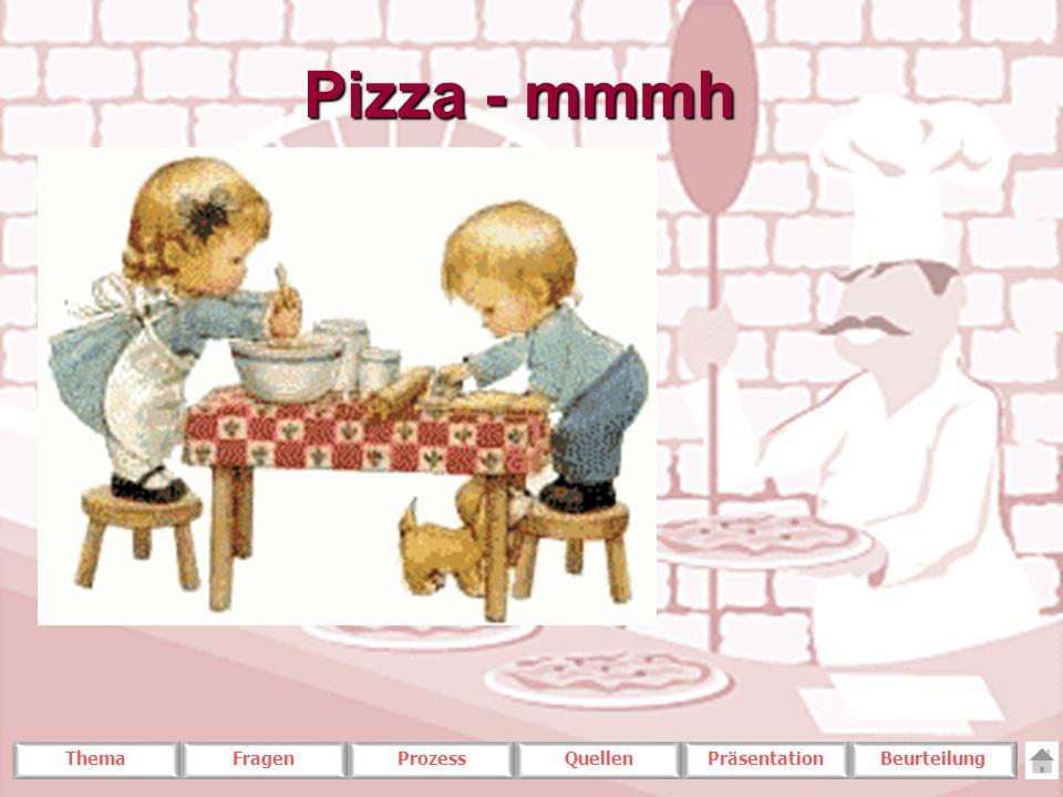 ThemaFragenProzessQuellenPräsentationBeurteilung Pizza - mmmh