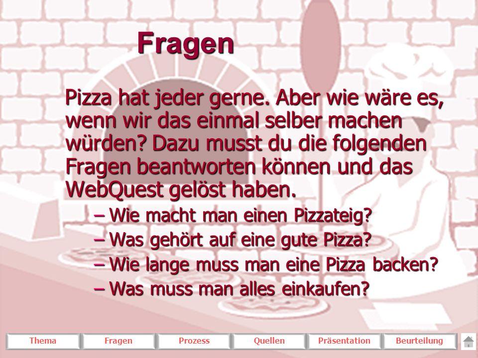 ThemaFragenProzessQuellenPräsentationBeurteilungFragen Pizza hat jeder gerne. Aber wie wäre es, wenn wir das einmal selber machen würden? Dazu musst d