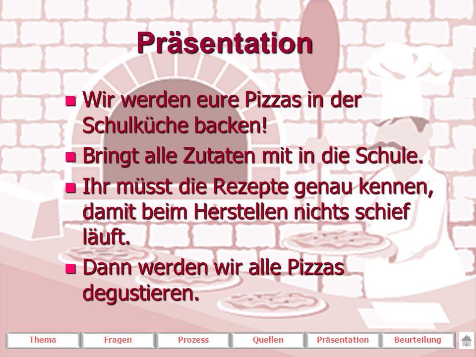 ThemaFragenProzessQuellenPräsentationBeurteilungPräsentation n Wir werden eure Pizzas in der Schulküche backen! n Bringt alle Zutaten mit in die Schul
