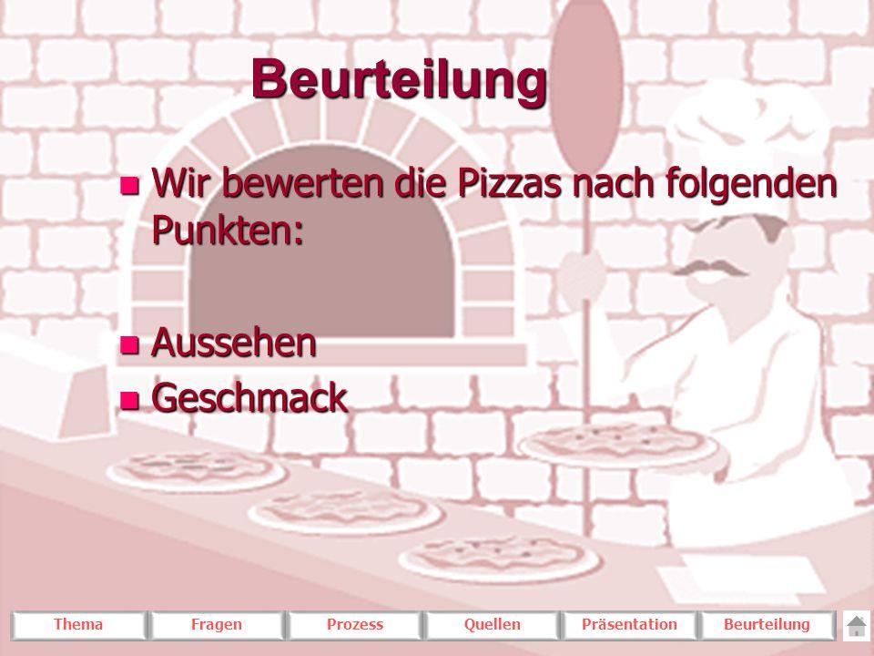 ThemaFragenProzessQuellenPräsentationBeurteilungBeurteilung n Wir bewerten die Pizzas nach folgenden Punkten: n Aussehen n Geschmack
