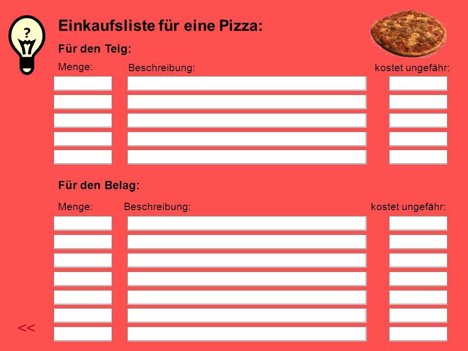 Einkaufsliste für eine Pizza: Für den Teig: Für den Belag: Menge: Beschreibung:kostet ungefähr: Menge:Beschreibung:kostet ungefähr: << ?