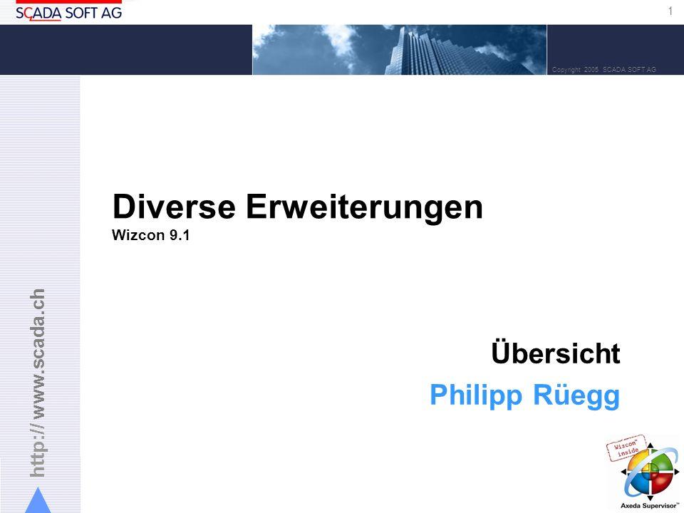 http:// www.scada.ch 1 Copyright 2005 SCADA SOFT AG Diverse Erweiterungen Wizcon 9.1 Übersicht Philipp Rüegg