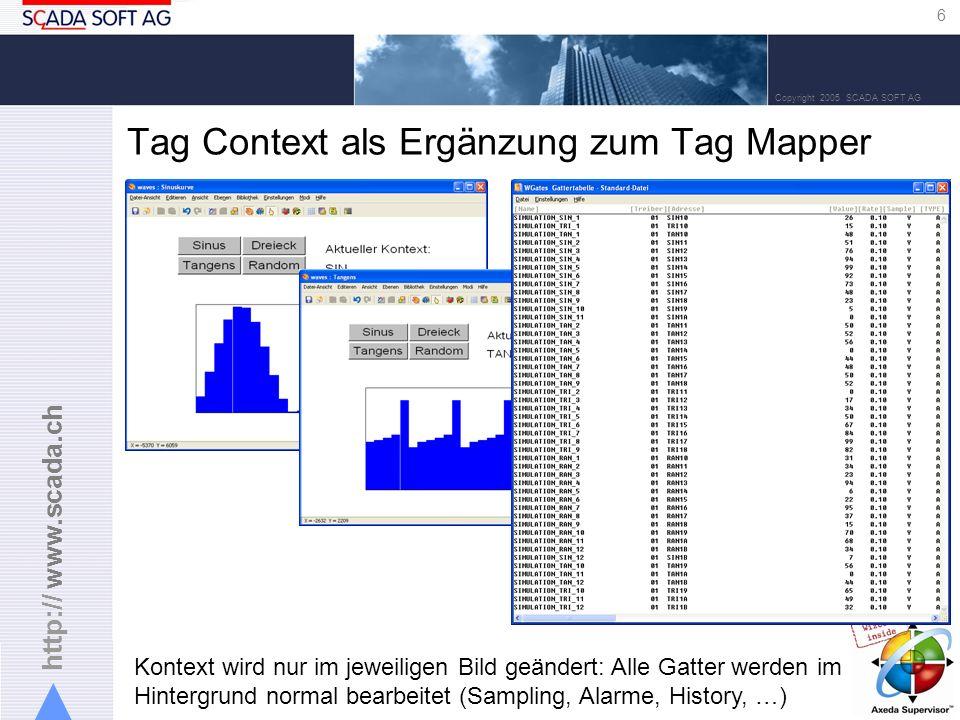 http:// www.scada.ch 6 Copyright 2005 SCADA SOFT AG Tag Context als Ergänzung zum Tag Mapper Kontext wird nur im jeweiligen Bild geändert: Alle Gatter werden im Hintergrund normal bearbeitet (Sampling, Alarme, History, …)