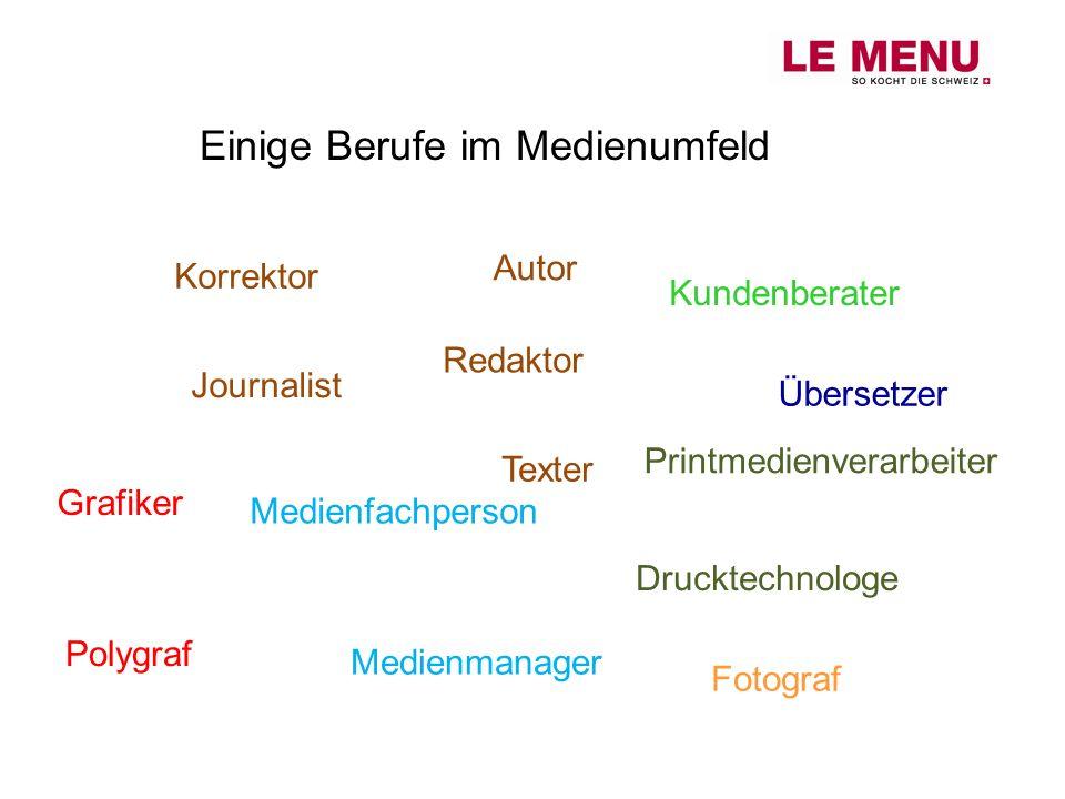 Einige Berufe im Medienumfeld Journalist Redaktor Texter Übersetzer Korrektor Grafiker Medienmanager Drucktechnologe Medienfachperson Polygraf Fotogra