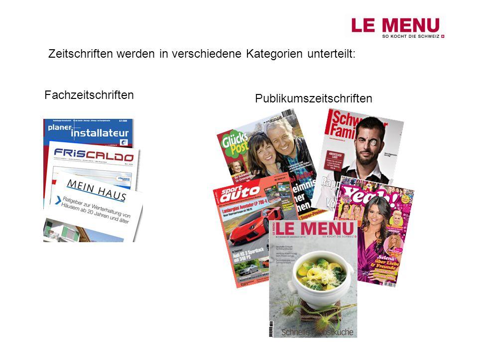 Zeitschriften werden in verschiedene Kategorien unterteilt: Fachzeitschriften Publikumszeitschriften
