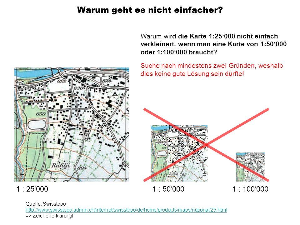 1 : 500001 : 100000 Warum geht es nicht einfacher? 1 : 25000 Quelle: Swisstopo http://www.swisstopo.admin.ch/internet/swisstopo/de/home/products/maps/