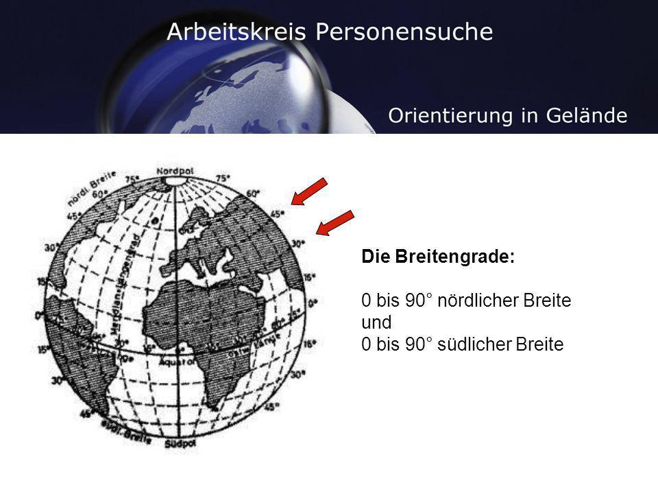 Die Breitengrade: 0 bis 90° nördlicher Breite und 0 bis 90° südlicher Breite