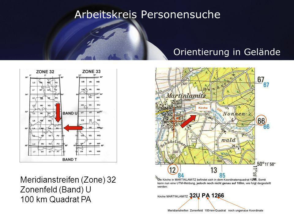 Meridianstreifen (Zone) 32 Zonenfeld (Band) U 100 km Quadrat PA