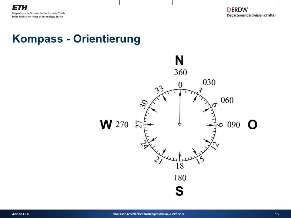Adrian Gilli16Erdwissenschaftliches Kartenpraktikum - Lektion 0 Kompass - Orientierung N O S W