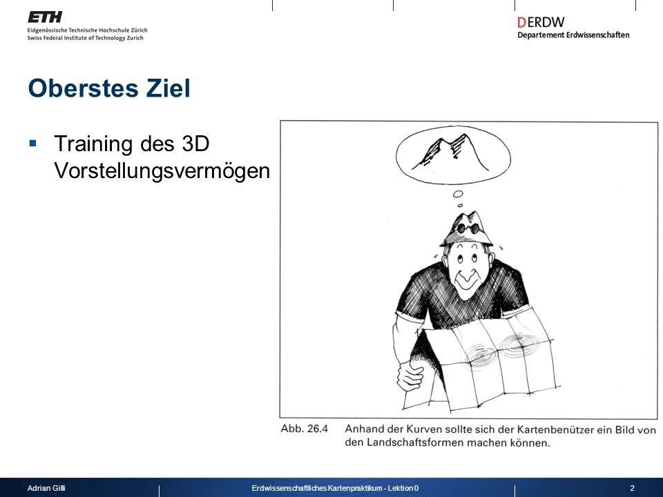Adrian Gilli2Erdwissenschaftliches Kartenpraktikum - Lektion 0 Oberstes Ziel Training des 3D Vorstellungsvermögen