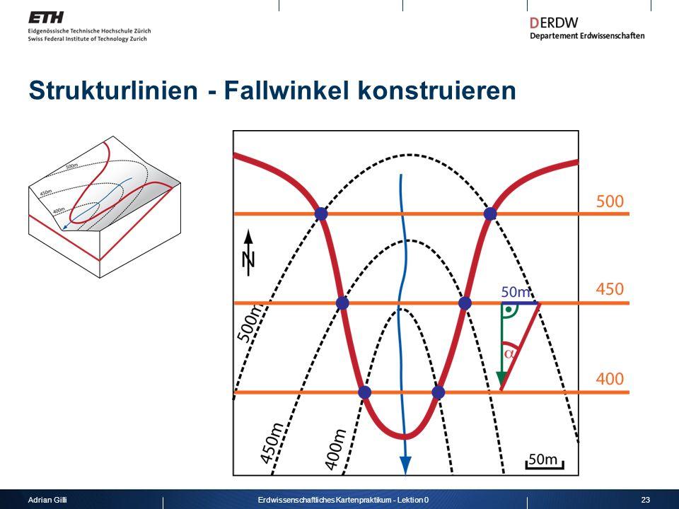 Adrian Gilli23Erdwissenschaftliches Kartenpraktikum - Lektion 0 Strukturlinien - Fallwinkel konstruieren