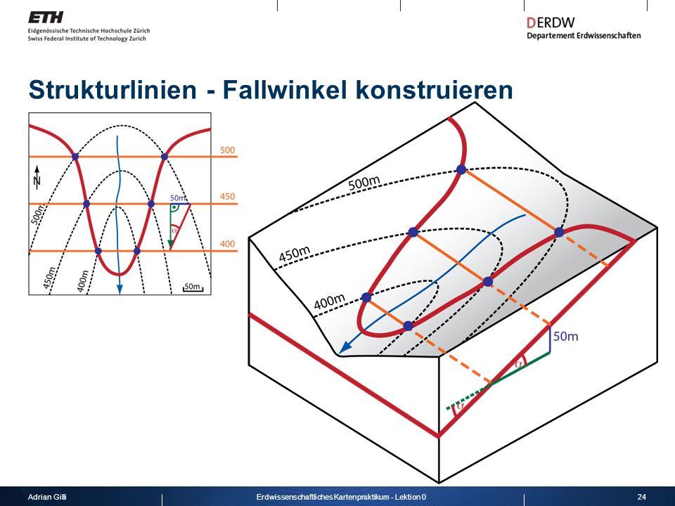 Adrian Gilli24Erdwissenschaftliches Kartenpraktikum - Lektion 0 Strukturlinien - Fallwinkel konstruieren
