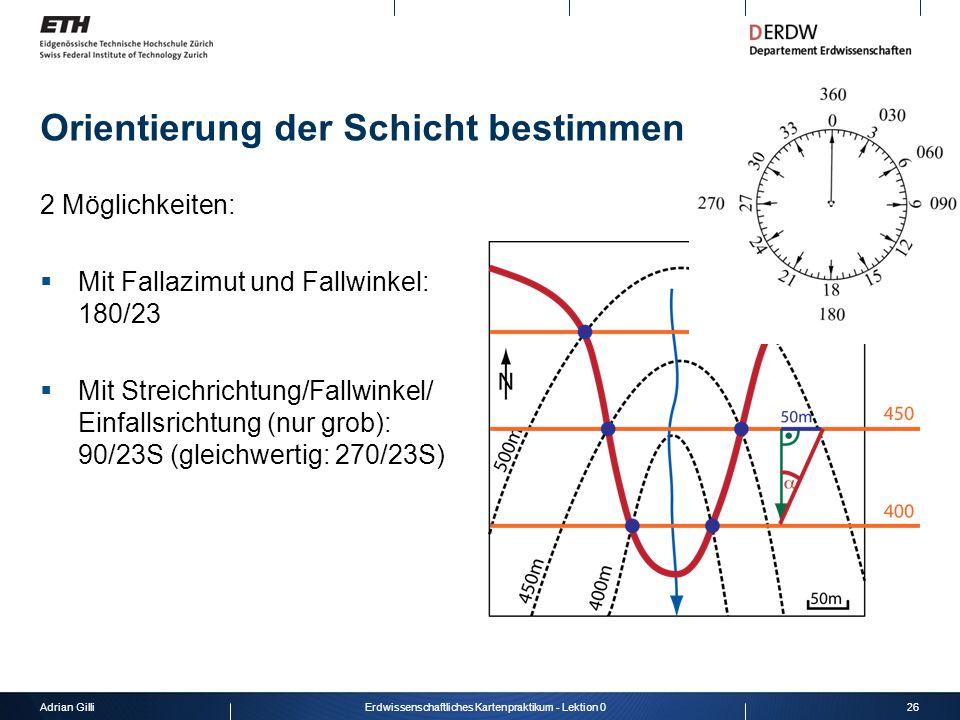 Adrian Gilli26Erdwissenschaftliches Kartenpraktikum - Lektion 0 Orientierung der Schicht bestimmen 2 Möglichkeiten: Mit Fallazimut und Fallwinkel: 180