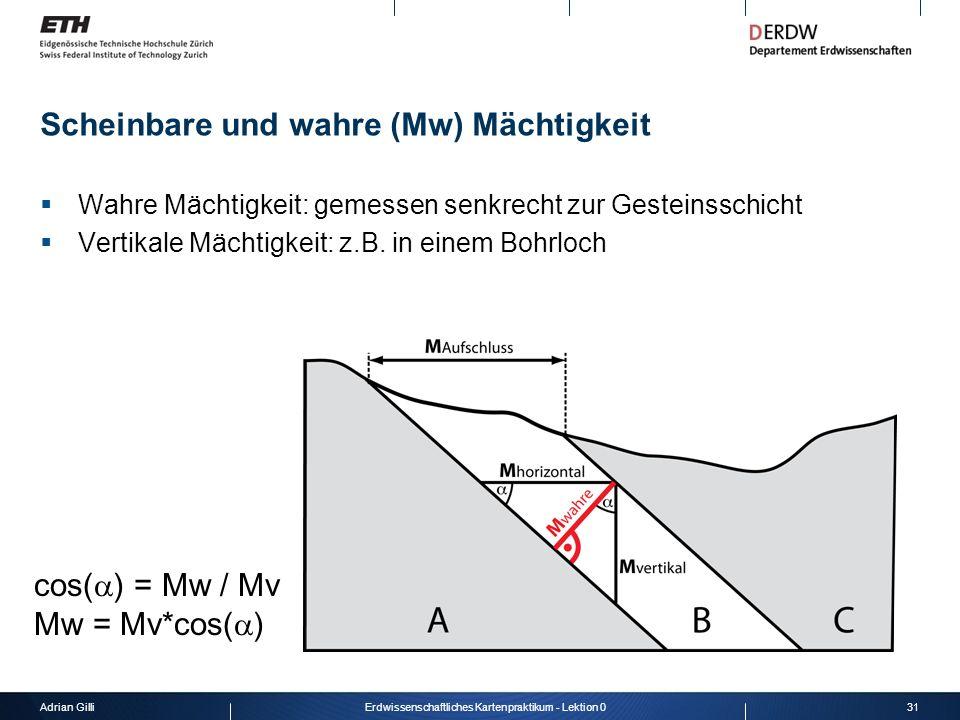Adrian Gilli31Erdwissenschaftliches Kartenpraktikum - Lektion 0 Scheinbare und wahre (Mw) Mächtigkeit Wahre Mächtigkeit: gemessen senkrecht zur Gestei