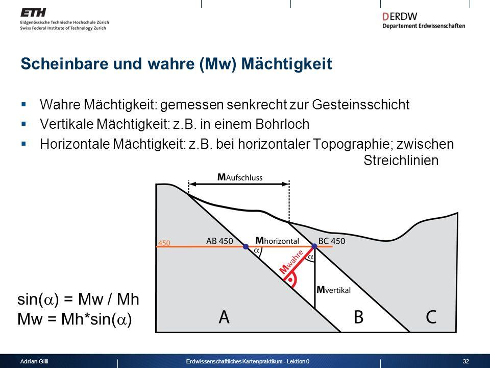 Adrian Gilli32Erdwissenschaftliches Kartenpraktikum - Lektion 0 Scheinbare und wahre (Mw) Mächtigkeit Wahre Mächtigkeit: gemessen senkrecht zur Gestei