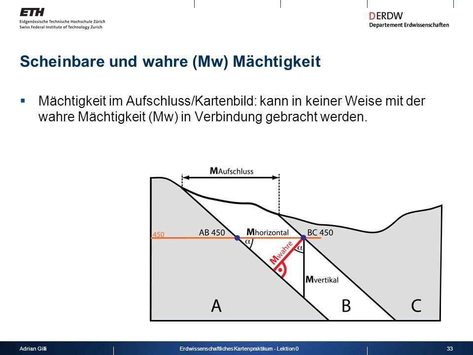 Adrian Gilli33Erdwissenschaftliches Kartenpraktikum - Lektion 0 Scheinbare und wahre (Mw) Mächtigkeit Mächtigkeit im Aufschluss/Kartenbild: kann in ke