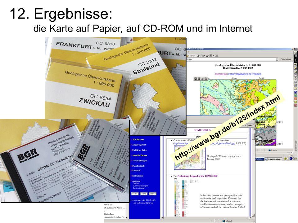 12. Ergebnisse: die Karte auf Papier, auf CD-ROM und im Internet http://www.bgr.de/b125/index.html